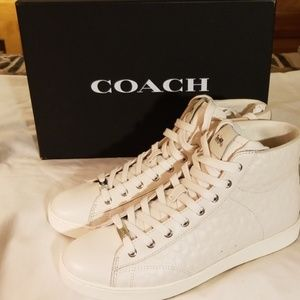 Womens Leather Beige High Top Sneakers Sz 9